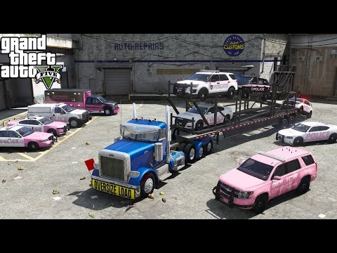 GTA 5 REAL LIFE MOD #84 Transporting & Delivering Breast Cancer Awareness Police Cars