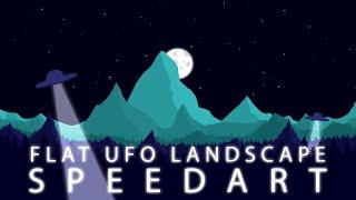 Flat UFO Landscape   Wallpaper Speedart   Photoshop