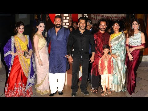Sanjay Dutt's GRAND Diwali Party 2017 Full Video HD - Salman Khan,Aamir Khan,Jacqueline,Shilpa