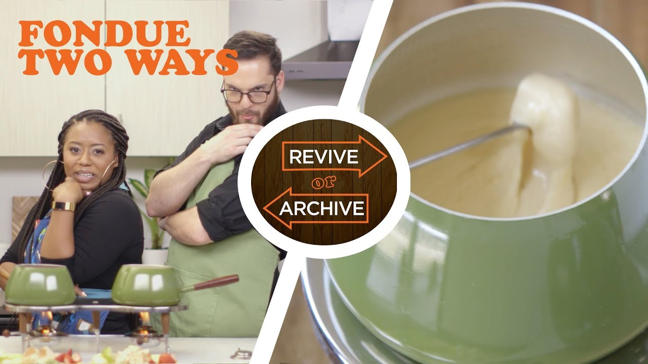 Fondue for TWO!! Beer Cheese vs. Fruit Sauce Fondues from 1973 | Revive or Archive - YouTube