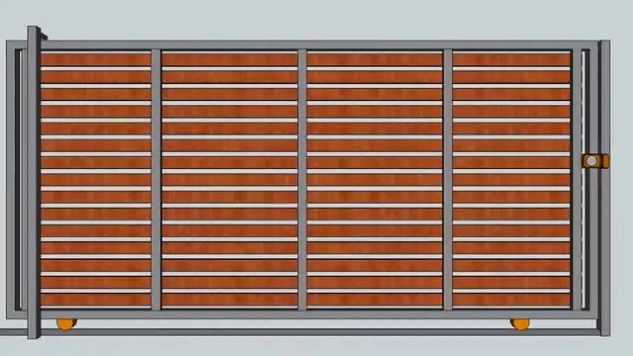 Port n de corredera maderas horizontales horizontal for Como hacer un porton de madera economico