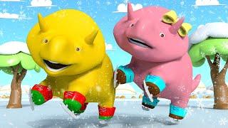 Учим фигуры - Дино и Дина катаются на льду - Учимся вместе с Дино | Обучающие видео для детей