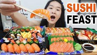 ULTIMATE SUSHI FEAST!! Salmon Sashimi, Bento Box, Sushi Platters | Japanese Food Eating Show Mukbang