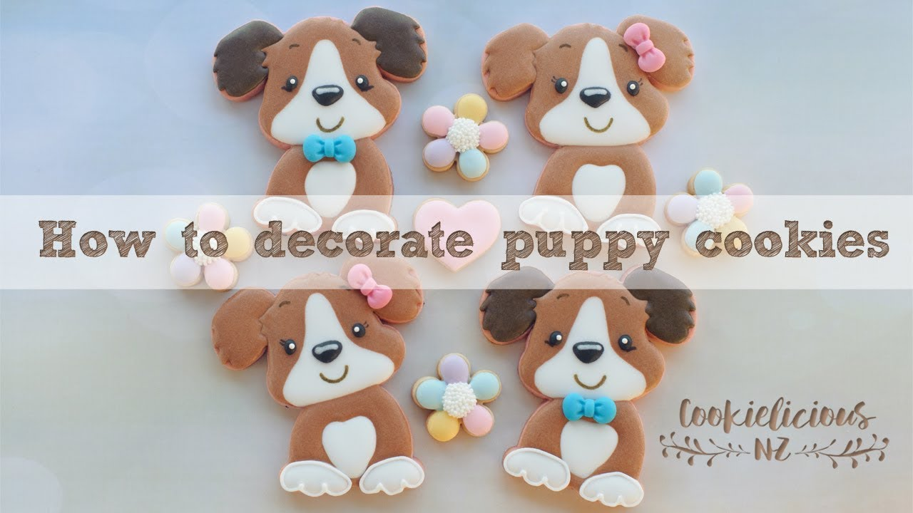 How to make cute puppy decorated cookies - YouTube
