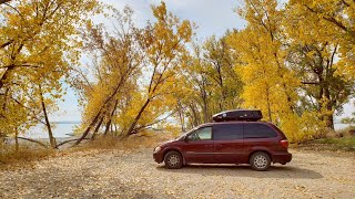 Fall Camping at Hiḋden Gem in Nebraska | Minivan Conversion Camper (Lake McConaughy State Park)