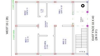 33 × 40 or 28 × 31 east face house plan map naksha