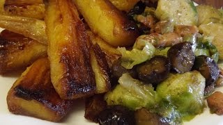 Honey Roasted Parsnips.sautéed Sprouts,bacon And Chestnuts.thescottreaproject.