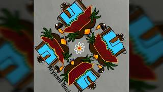 Latest N creative rangoli...simple rangoli...7 to 3 dots..festival special kolam...