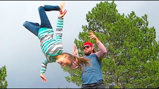 LITTLE GIRL BACKFLIP THROW!