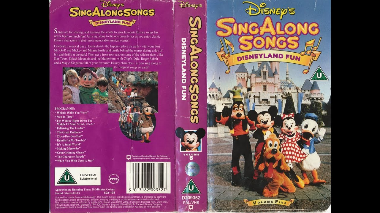 Disney Sing Along Songs Disneyland Fun 60th Anniversary