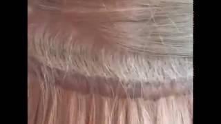 Бионаращивание.  Волосы и лента перед коррекцией