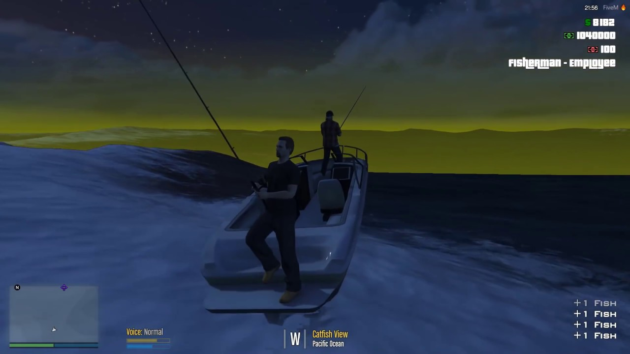 GTA-V Rp FiveM ESX server Ep#1  Buck,and Risky go to work as Fisherman  (JOBS)
