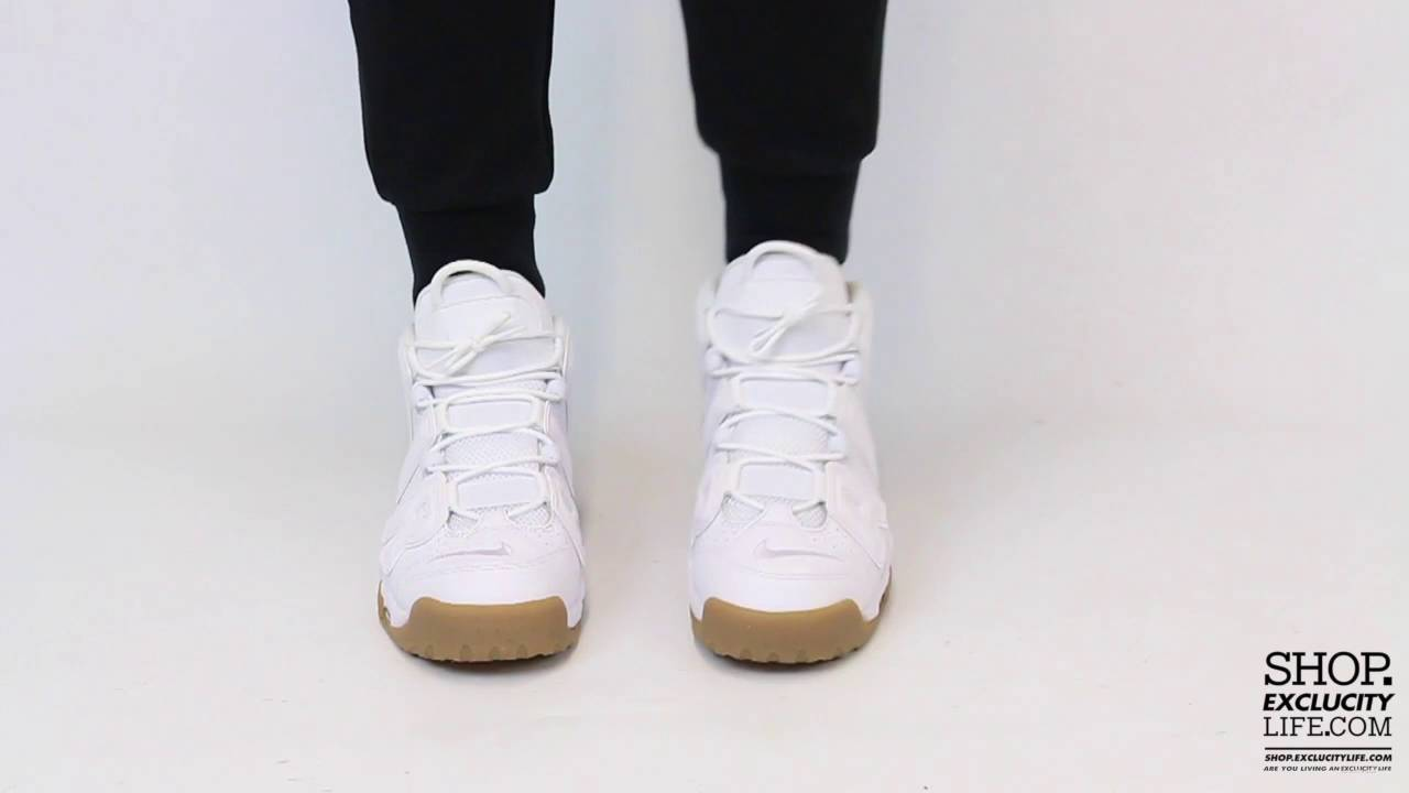 96f3575be3 ... cheapest nike air more uptempo white light brown on feet video at  exclucity youtube f441c fc7e1