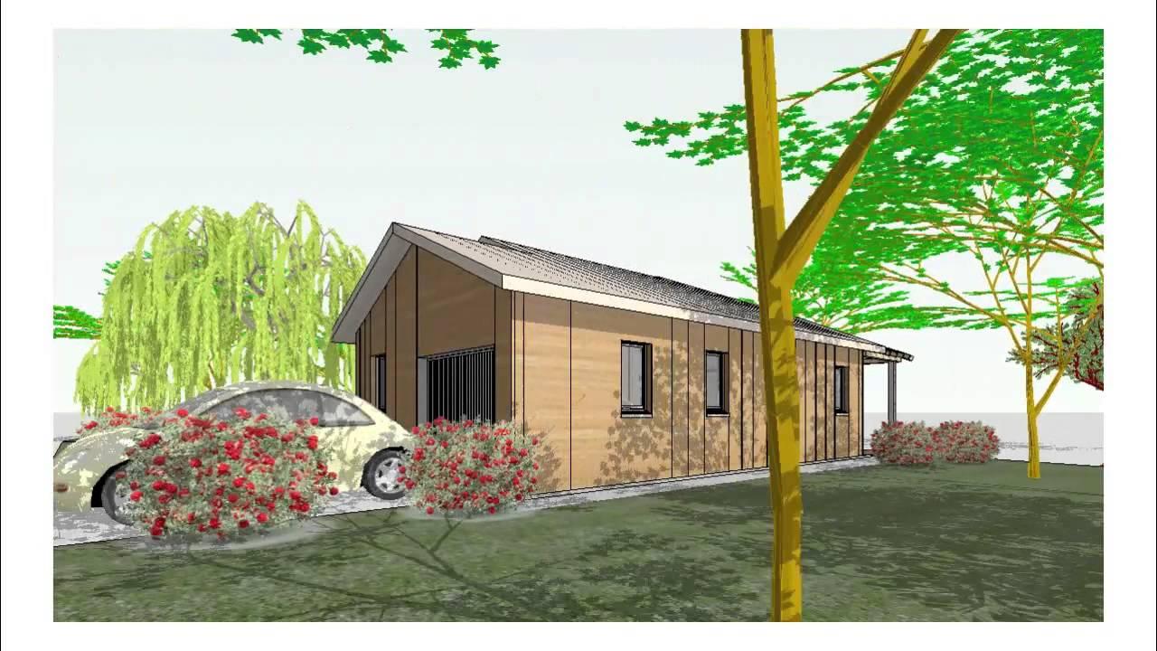 visite virtuelle maison bois t4, plain-pied, type b_10133_d - youtube - Site De Construction De Maison Virtuel Gratuit