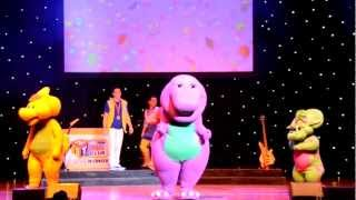 "Barney performing ""Having Fun Song"" and the Top 5 songs."