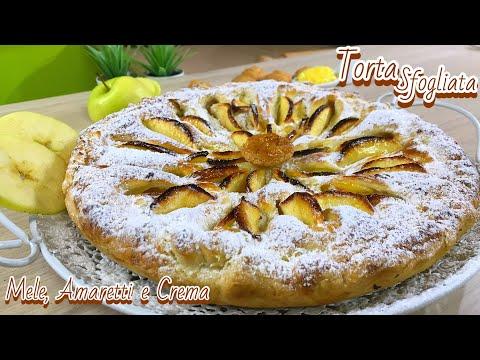 TORTA SFOGLIATA MELE AMARETTI CREMA ricetta velocissima PUFF PASTRY APPLE CAKE  - Tutti a Tavola