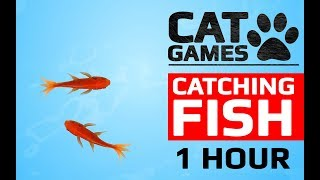 CAT GAMES   CATCHING FISH 1 HOUR VERSION (VIDEOS FOR CATS TO WATCH)