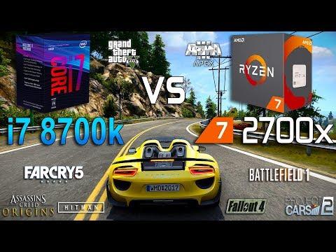 Ryzen 7 2700x vs Core i7 8700k Test in 8 Games
