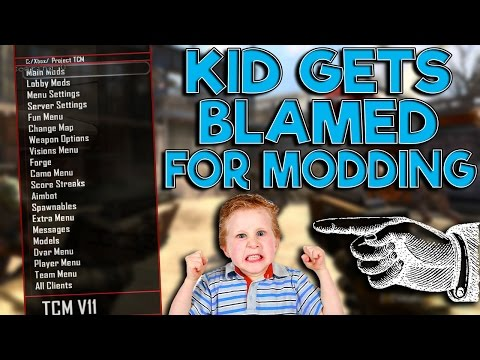 Black ops 2 Mod Trolling! (KID GETS BLAMED FOR MODDING!)