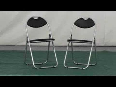 Padded Retro Folding Chair (Black)