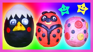 Opening Play Doh Surprise Eggs - Surprise Toys Video For Kids