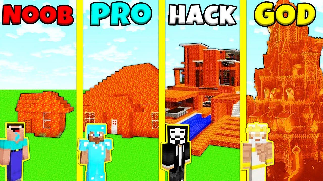 Minecraft Battle: NOOB vs PRO vs HACKER vs GOD: LAVA BASE HOUSE BUILD CHALLENGE / Animation