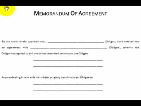 Memorandum of Agreement, Explained (Real Estate Investing) - YouTube - memorandum of agreement template