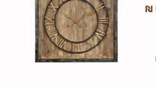 Clock - Antique Wood Finish & Metal - Square By Bassett Mirror-mc3101