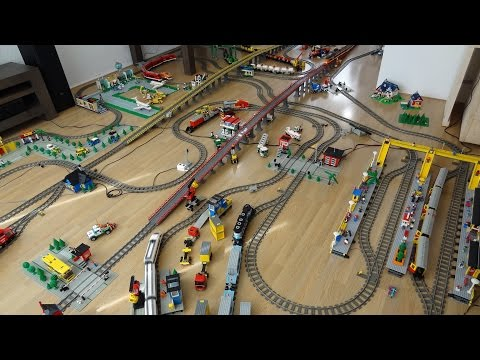 Gigantic Lego Train Layout 2 with 30 years of Lego Train sets with 60051 and 60052