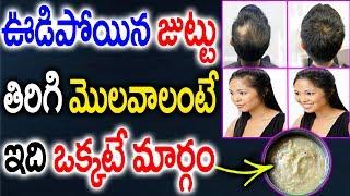 ఊడిపోయిన జుట్టు తిరిగి మొలవాలంటే ఇది ఒక్కటే మార్గం || Home Remedies for Hair Growth || Beauty Tips