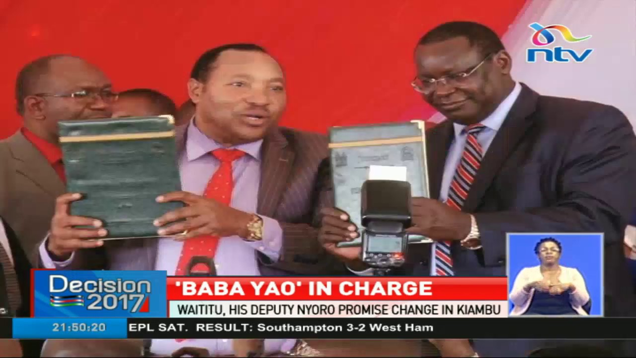 'Baba Yao' in charge: Waititu takes over from Kabogo in Kiambu