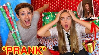 CHRISTMAS WRAPPING my SISTERS bedroom whilst she was at SCHOOL...*SURPRISE PRANK*