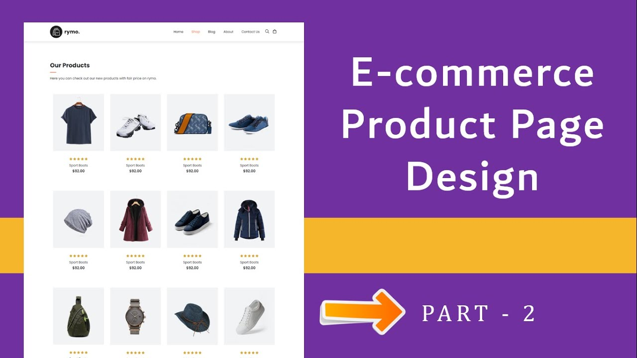 Ecommerce Shop Page Design HTML and CSS step by step | Ecommerce