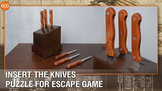 Insert the knives - Puzzle for escape game.
