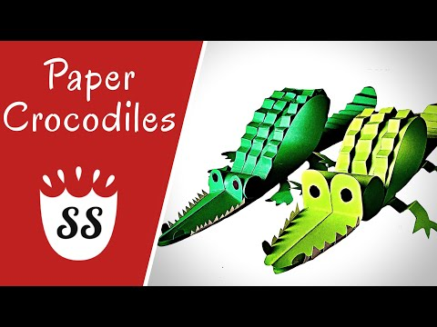 How To Make A Crocodile Out Of Paper   3D Crocodile Crafts For Kids