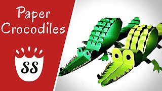 How To Make A Crocodile Out Of Paper | 3D Crocodile Crafts For Kids