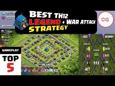 GHOST Ice GOLEM TH12 LEGEND, WAR ATTACK STRATEGY | ARCHER QUEEN WALK Replay | Giants Witches Bowler