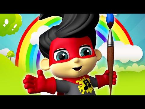 Super Geek Heroes - Learn Colors With Rainbow | Cartoon For Kids | Nursery Rhymes & Kids Songs
