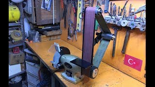 "D We turned the grinding wheel into ""Belt sander!"