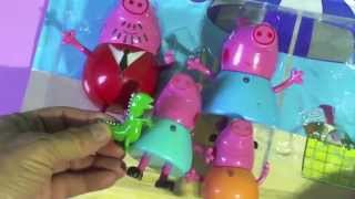 PEPPA PIG  FAMILY: MUMMY PIG, DADDY PIG, GEORGE PIG, little colorful plastic toys, review
