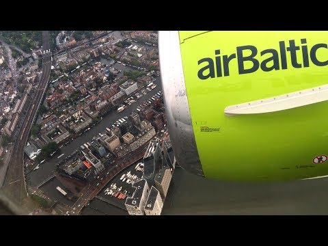 Air Baltic 737-500 full flight | Vilnius - Amsterdam | Rare approach over Amsterdam city centre