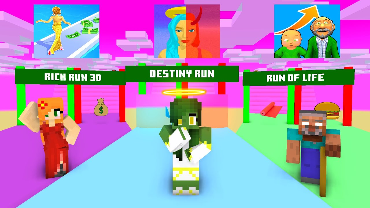 Download Minecraft, Rich Run | Run of Life | Destiny Run, ALL RUN CHALLENGE - Minecraft ALL SEASON Big School
