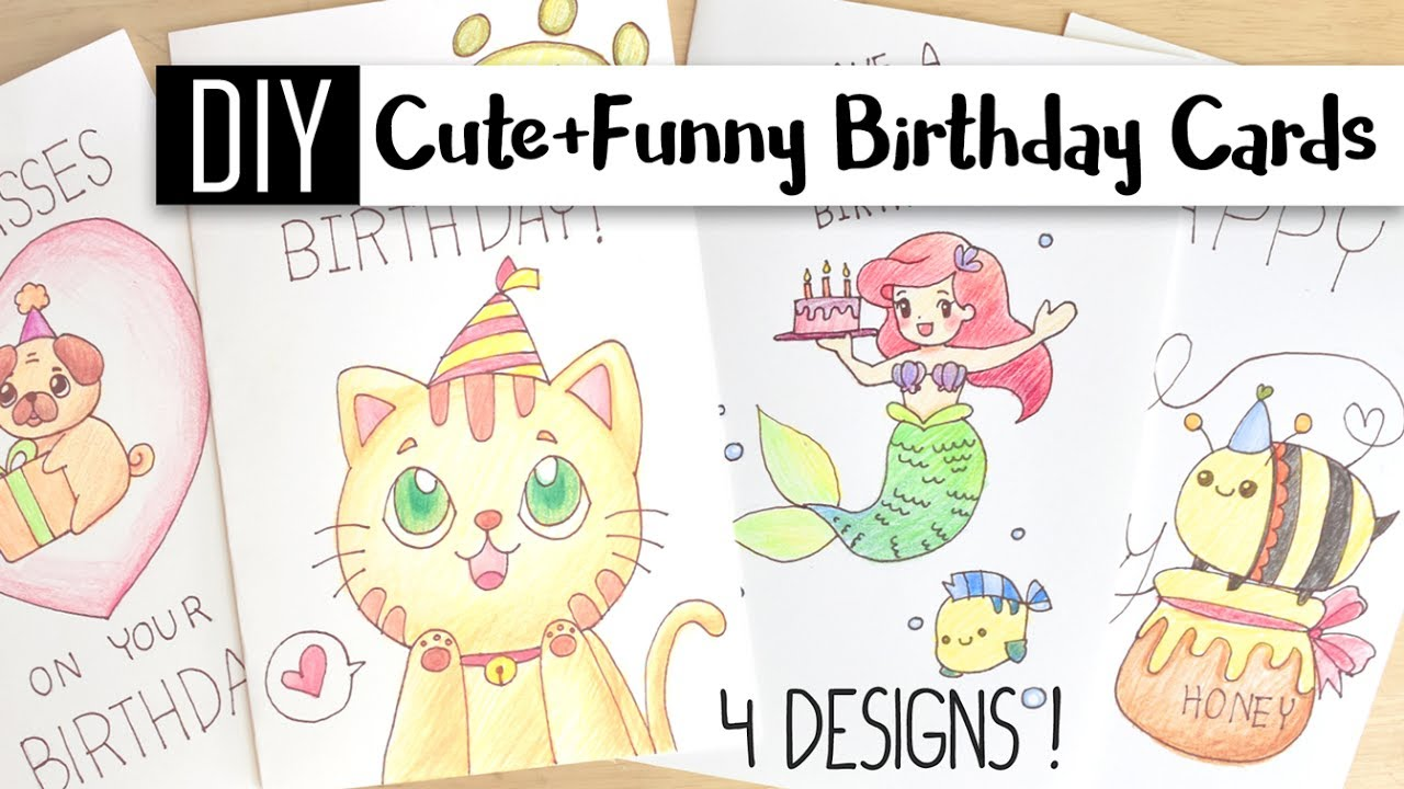 DIY Cute Funny Birthday Cards 4 Puns Doodle Card Ideas – Doodle Birthday Card