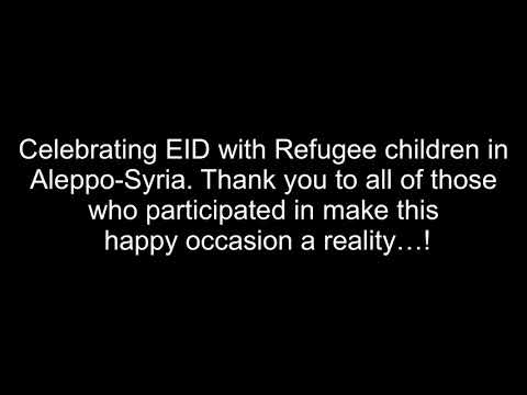 Syrian refugees celebrating Eid Adha