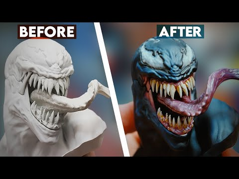 Painting Venom From The Spider-Man Vs Venom Maquette | Sideshow Behind The Scenes