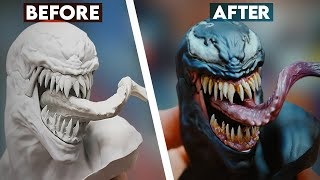 Painting Venom From the Spider-Man vs Venom Maquette   Sideshow Behind the Scenes