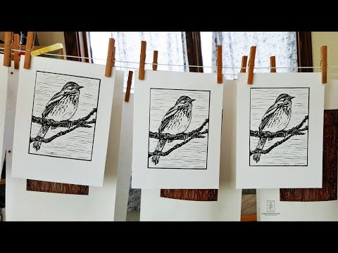 Song Sparrow Linocut by Linda Cote Studio