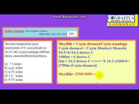 TQDK I hissə : Hidrosfer Test 217- Temperatur + Çayın meyilliyi məsələsinin həlli-Samir m