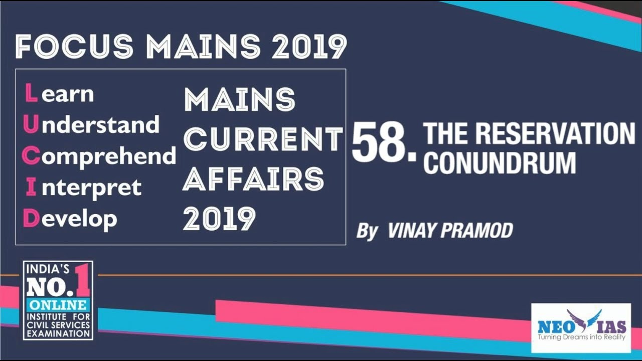 58  103rd CONSTITUTIONAL AMENDMENT ACT, 2019 - 10% RESERVATION FOR EWS |  CURRENT AFFAIRS 2019