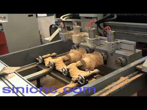 multi-head rotary wood working cnc router machine